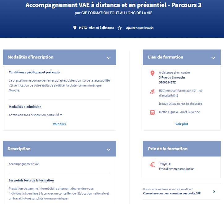 Exemple de la présentation du formation sur le site officiel du compte personnel de formation.